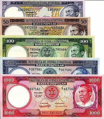 EQUATORIAL GUINEA Set 5 Notes 25 - 1000 Ekuele Banknote World Money UNC Currency