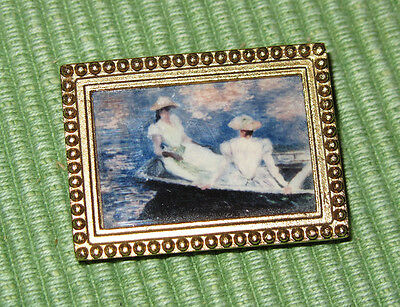 Monet Young Women Girls on Boat framed Broach Lapel Pin French Impressionist Art