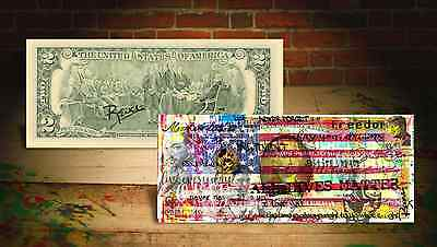AMERICAN FLAG - ALL LIVES MATTER by RENCY Art Genuine U.S. $2 Bill Signed BANKSY