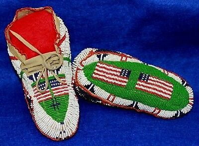 "Vintage 6.75"" Antique Circa 1880-1910 South Dakota Sioux Fully Beaded Moccasins"
