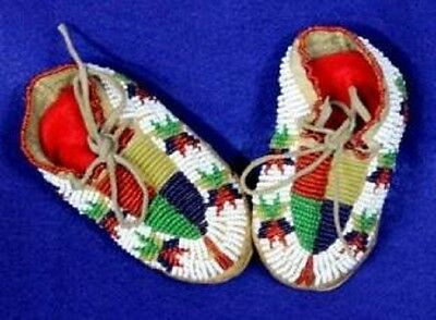 "Vintage 4"" Antique Circa 1890 - 1930 North Dakota Sioux Beaded Baby Moccasins"