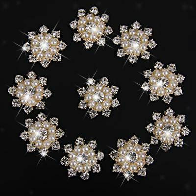 10Pcs Round Pearl Rhinestone Flatback Buttons Wedding Dress Embellishment
