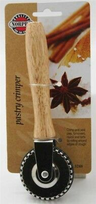 """Norpro Slotted Metal Pastry Crimper with Solid Wood Handle, 7"""""""