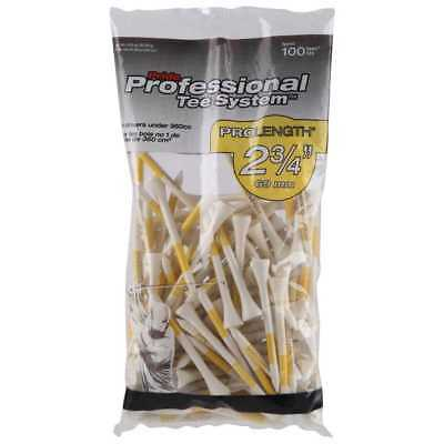 "Pride Professional Tee System - Golf Pro Length 2 3/4"" - 100 Count, White/Yellow"