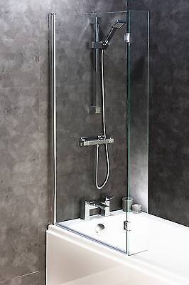Hinged Chrome Straight L-Shaped Bath Screen with Return Panel 6mm Thick Glass