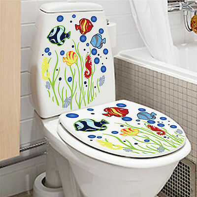 fish cut cartoon Toilet Bathroom Wall Decal Removable Stickers Home Decor Vinyl
