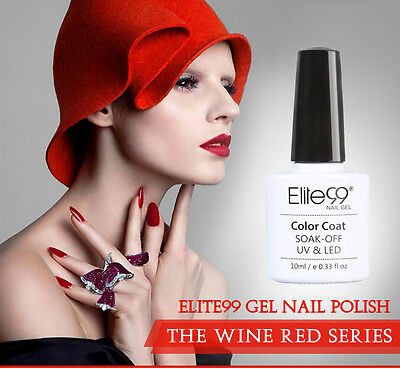 Elite99 Esmalte de Uña Vino Tinto Base Top Coat Soak Off UV LED Manicura Arte