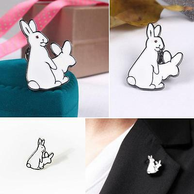 1Pc Cute Two White Rabbits Evil Badge Corsage Collar Metal Brooch Pins Jewelry