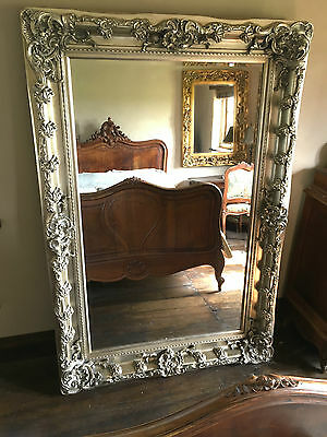 Antique Silver Large Ornate French Overmantle Leaner Dressing  Dress Wall Mirror
