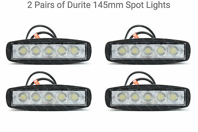 2 Pairs of DURITE 145mm Spot Lights Ideal for Roof Bars