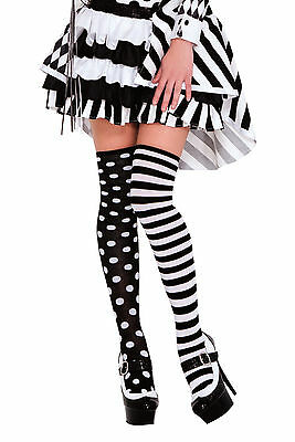 Black and White Polka Dot and Striped Thigh Highs Cosplay Costume Accessory fnt