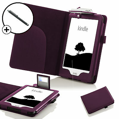 Forefront Cases® Leather Purple Case Cover with Light Amazon Kindle 2016 Stylus