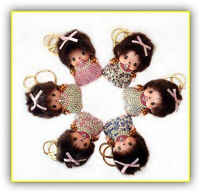 Monchichi Keychains llavero Rhinestone Key Chain For Bag pendant  Monchhichi
