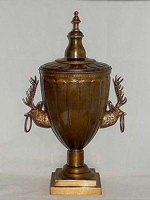 """Antique Solid Brass Large 21.5"""" Urn Decor With Deer Head Handles"""