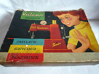 Vintage Vulcan Senior Childs Sewing Machine/ In Original Box  With Booklet 1950S