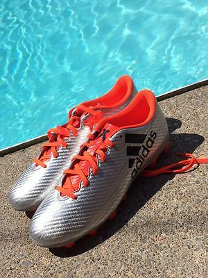 ADIDAS X 16.4 FXG Adult Size 9 Silver Cleats Soccer Football Shoes