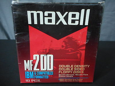 Maxell MF200 1.44MB Diskettes IBM formatted Open Box with 10 disks.