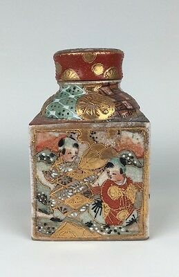 19th C Japanese Satsuma Tea Caddy with Moriage Details