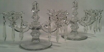 Antique Pair Of Vintage Glass Candlesticks With Prisms