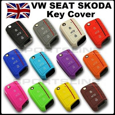 Key Cover For VW Seat Skoda 3 Button Flip Key Fob Case Hull Silicone Rubber H*