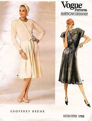 1980's VTG VOGUE Misses' Dress Geoffrey Beene Pattern 1750 12 UNCUT