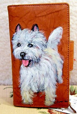 hand painted Cairn Terrier genuine leather checkbook wallet Croft&Barrow