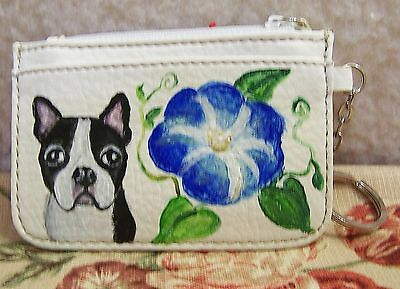 hand painted Boston Terrier on  coin purse keyring ID