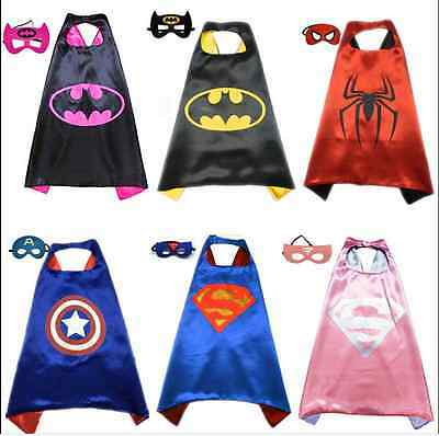 Kids Costume Super Hero Cape+ Mask Batman Superman Children Superhero Outfit