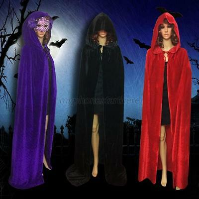 Gothic Hooded Velvet Cloak Robe Medieval Witchcraft Cape Halloween Costume