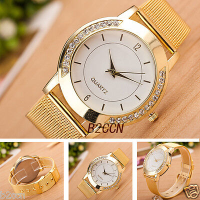 Fashion Women's Crystal Gold Stainless Steel Analog Quartz Wrist Watch Bracelet