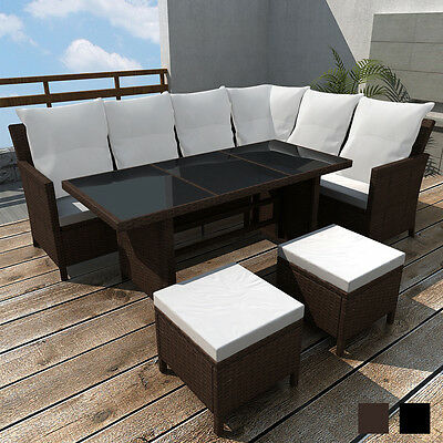 Brown/Black 8 Person Rattan Wicker Outdoor Lounge Sofa Set Couch Furniture Table
