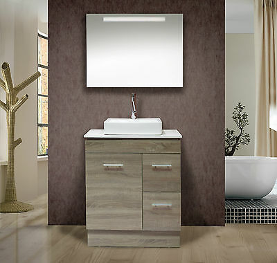 750mm Oak Colour  Freestanding or Wall Hung Vanity with Stone top-BG