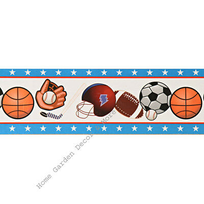 Sports Star Balls Basketball Football Peel Stick Self Adhesive WallPaper Border
