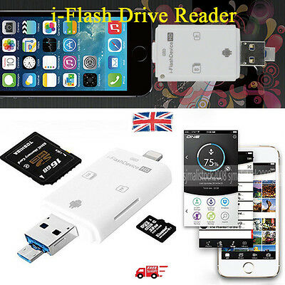 i-Flash Drive 8-Pin USB Micro SD Memory Card Reader Device For iOS & Android UK