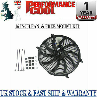 """12V 16"""" Inch Radiator Engine Bay Electric Cooling Thermo Fan + Free Mounting Kit"""
