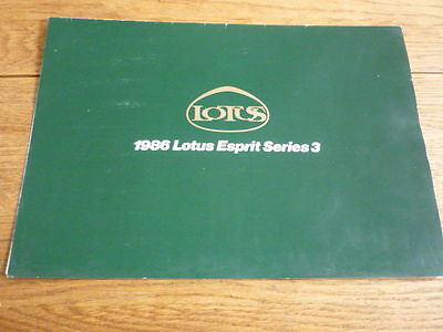 Lotus Esprit Series 3 Sales Brochure 1986