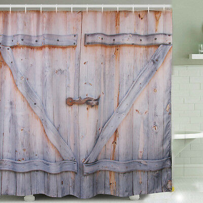 Polyester Rustic Wooden Barn Door Graphic Shower Curtain Antique Bath Curtain