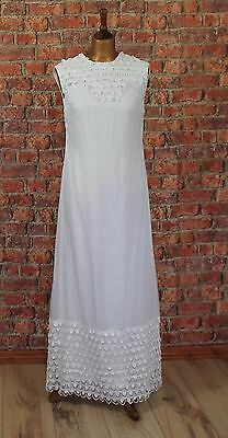 Vintage 60s Wedding Evening Dress White Long Lace Victorian Style Long M