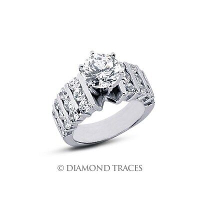 2.08ct G-VS2 VG Round AGI Genuine Diamonds 14k Gold Wide Band Accents Ring 9.4mm