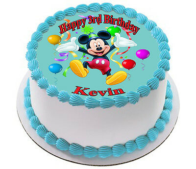 Mickey Mouse Personalised Edible Icing Image Party Cake Topper Round