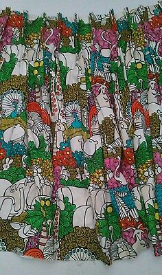 Vintage fabric curtain jungle zoo animals colorful