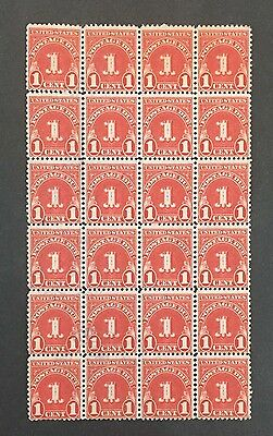Usa J70 Postage Due Mint Block Of 24 Nh F-Vf