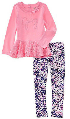 Juicy Couture Girls Pink Laced Tunic 2pc Legging Set Size 4 5 6 6X $69.50