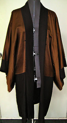 Vtg Silk Kimono Formal Long Jacket Coat Reversible Black Brown Five Crested Euc