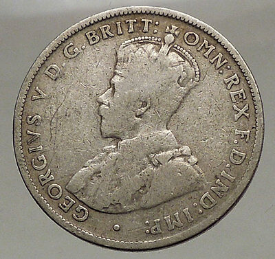 1915 AUSTRALIA - FLORIN Large SILVER Coin King George V Coat-of-Arms i57108