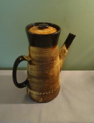 Vintage Artisan Pottery Canada Lava Drip (Brutalist) Style Coffee Jug with Lid