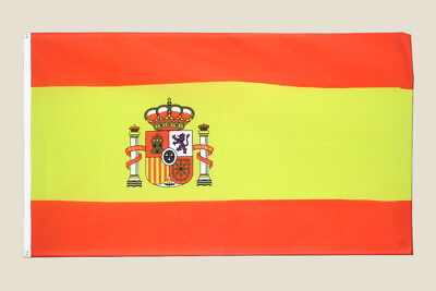 Spain 3x5 Flag Yellow Red Polyester 2 Brass Grommets Crest Spanish Country