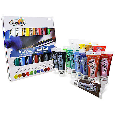 Thornton's Art Supply Acrylic Paint Tubes, Assorted Colors, 120ml, Set of 14