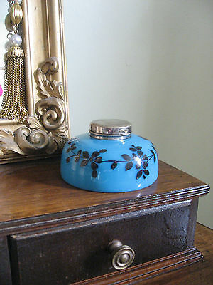 Antique Vintage French Art Nouveau Blue Opaline Floral Glass Inkwell Rare