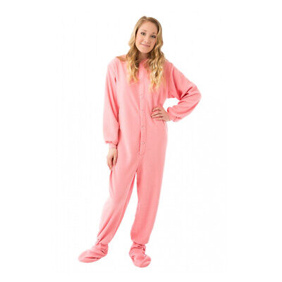 Pink Fleece Adult Footed Pajamas Footie Drop Seat Womens Lady Soft Comfy PJs